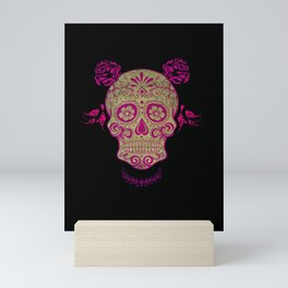 Sugar Skull Green and Pink Mini Art Print