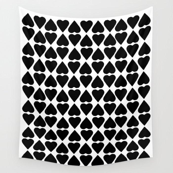 Diamond Hearts Repeat Black Wall Tapestry