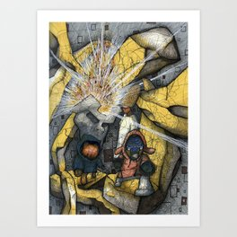 Happiness Will Blow Your Mind : fear creates only a man Art Print