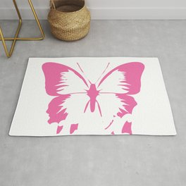 Pinky Anti-Social Pink Butterfly T-shirt Design Shy Quiet Self-conscious Insect Fly Shy Public Rug