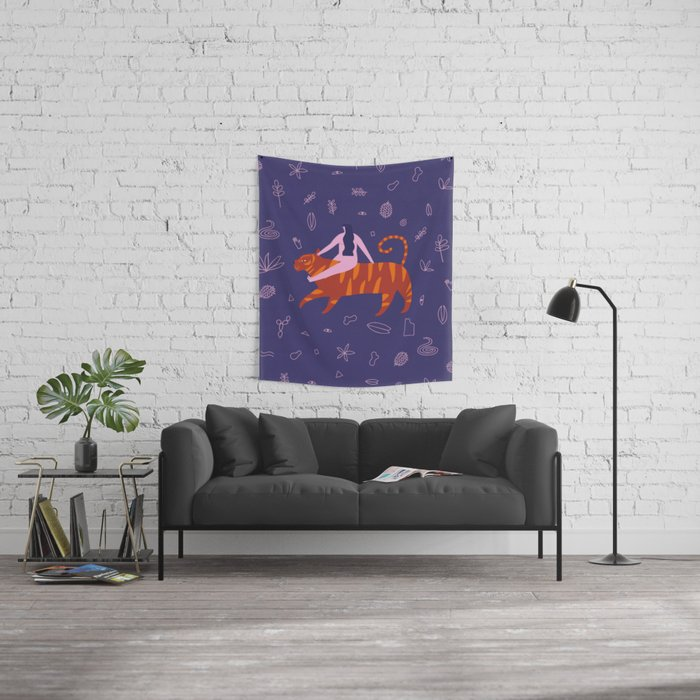 Night safari poster Wall Tapestry