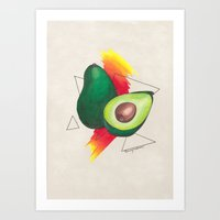 avocado Art Prints featuring Avocado by Laura Jane Burn