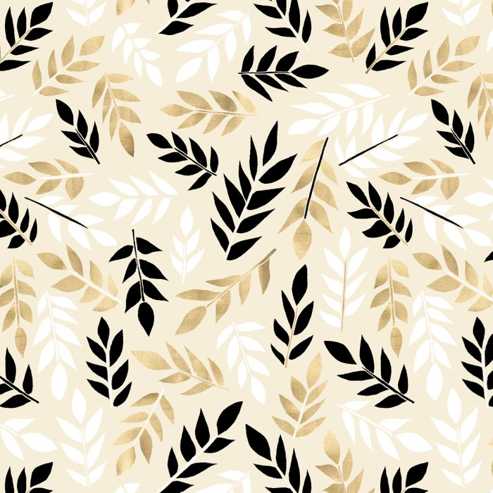 Black, White & Gold Fronds Comforters