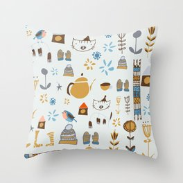 hygge cat and bird gray Throw Pillow