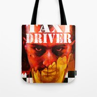 taxi driver Tote Bags featuring Taxi Driver by ChrisNygaard