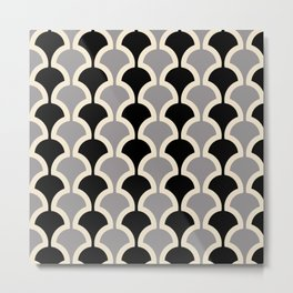 Classic Fan or Scallop Pattern 415 Gray and Black Metal Print