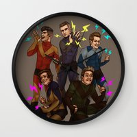 kendrawcandraw Wall Clocks featuring Superlads by kendrawcandraw