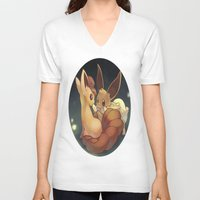 eevee V-neck T-shirts featuring Eevee and Vulpix by Yamilett Pimentel