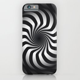 Black and White Hypnotic Swirl iPhone Case