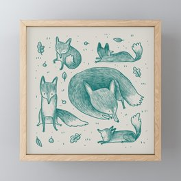 Fox Pattern Framed Mini Art Print