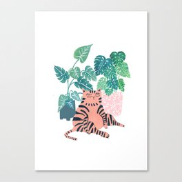 Fat Plant Kitty Canvas Print