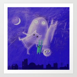 ghostly friends Art Print