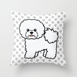 Cute White Bichon Frise Dog Cartoon Illustration Throw Pillow