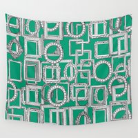 frames Wall Tapestries featuring picture frames aplenty green by Sharon Turner