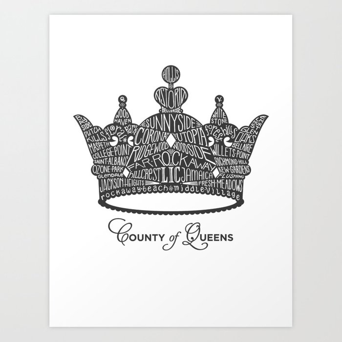 County of Queens | NYC Borough Crown (GREY) Art Print