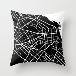 Buenos Aires, Argentina - Black Map Throw Pillow