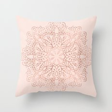Mandala Rose Gold Pink Shimmer on Blush Pink Throw Pillow