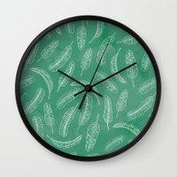 banana leaf Wall Clocks featuring Banana Leaf by Make-Ready