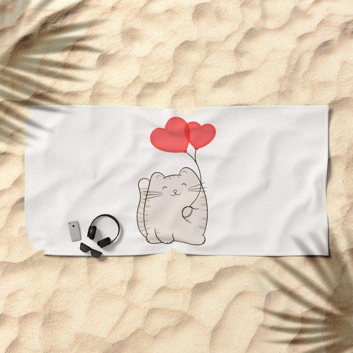 Eli, the love cat Beach Towel