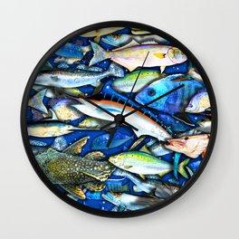 DEEP SALTWATER FISHING COLLAGE Wall Clock