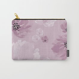 Dusty pink watercolor peonies on dusty pink Carry-All Pouch