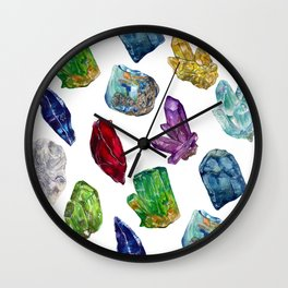 Raw Birthstone Gems Watercolor Collection Wall Clock