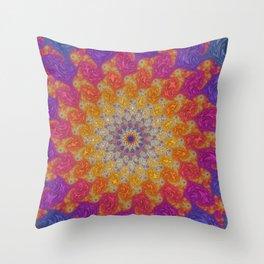 Rainbow Fractal Mandala Throw Pillow