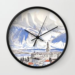 Reykjavik Iceland City Painting Blue Wall Clock