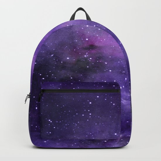 Purple Watercolor Space Pattern Backpack