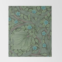 William Morris Art Nouveau Forget Me Not Floral Throw Blanket