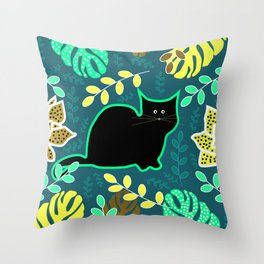Curious cat and monstera leaves Throw Pillow