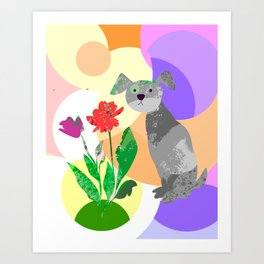 Grey Dog with Flowers Art Print
