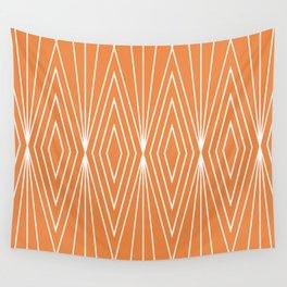 Simple Modern Diamond Lines Orange Wall Tapestry