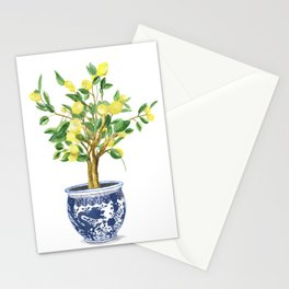 Lemon tree , watercolor painting Stationery Cards