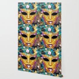 Golden Carnival Mask Wallpaper