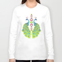 peacock Long Sleeve T-shirts featuring peacock by Manoou