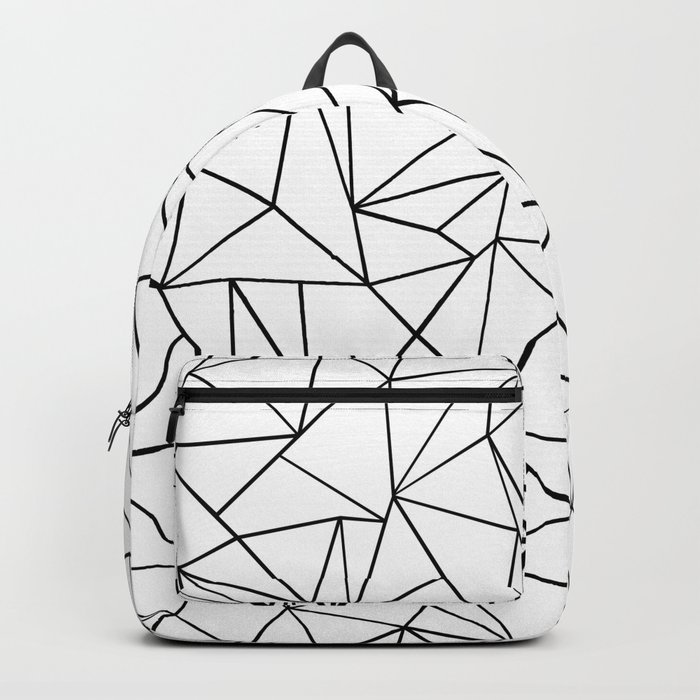 Abstract Outline Black on White Backpack