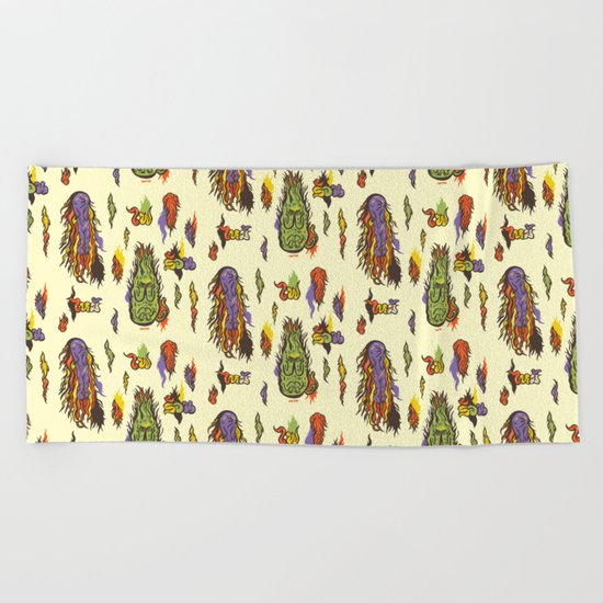 Fire monsters Beach Towel