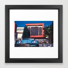BLUE CAR AND HOUSE Framed Art Print