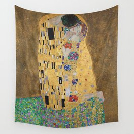 Gustav Klimt, The Kiss (Lovers), 1908 - Reproduction under Belvedere, Vienna, Creative Commons License CC BY-SA 4.0 Wall Tapestry