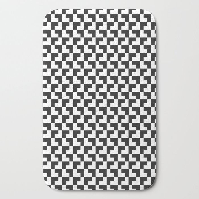 Black and White Tessellation Pattern - Graphic Design Bath Mat
