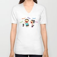 dancing V-neck T-shirts featuring Dancing! by LesliePinto
