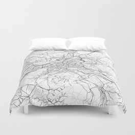 Bern Map White Duvet Cover