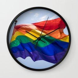 LGBTQIA Flag Flying over Pride March Wall Clock