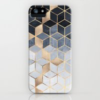 iPhone 5/5s Case featuring Soft Blue Gradient Cubes by Elisabeth Fredriksson