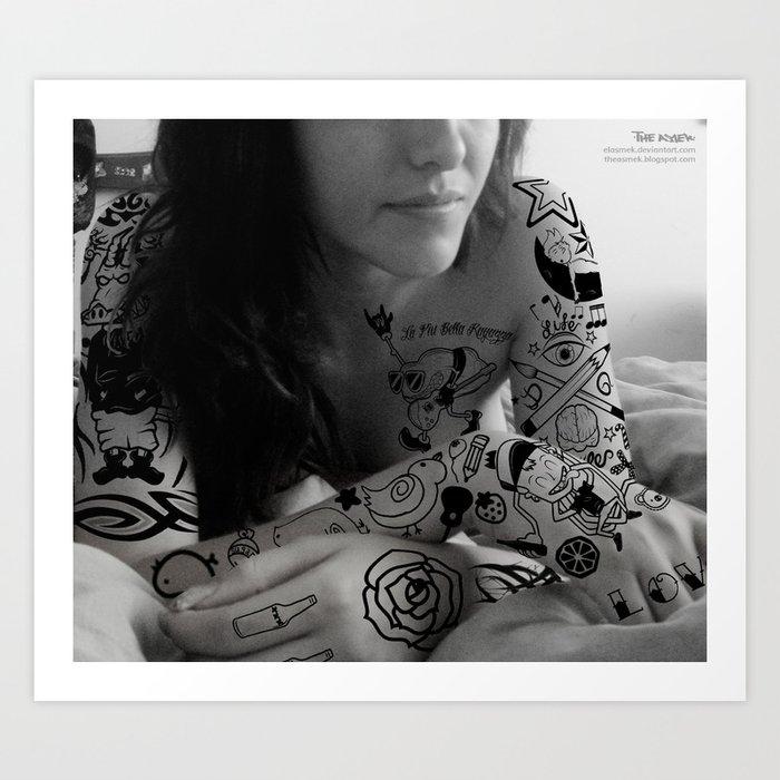 Tattoo Girl II Art Print