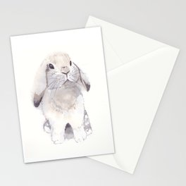 Gray and brown little cute bunny rabbit Stationery Cards