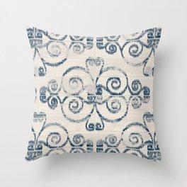 Farmhouse Scoll Diamond Ikat Pattern - Cream Navy Throw Pillow