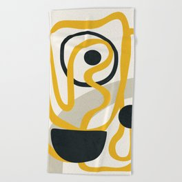 Abstract Yellow Line II Beach Towel