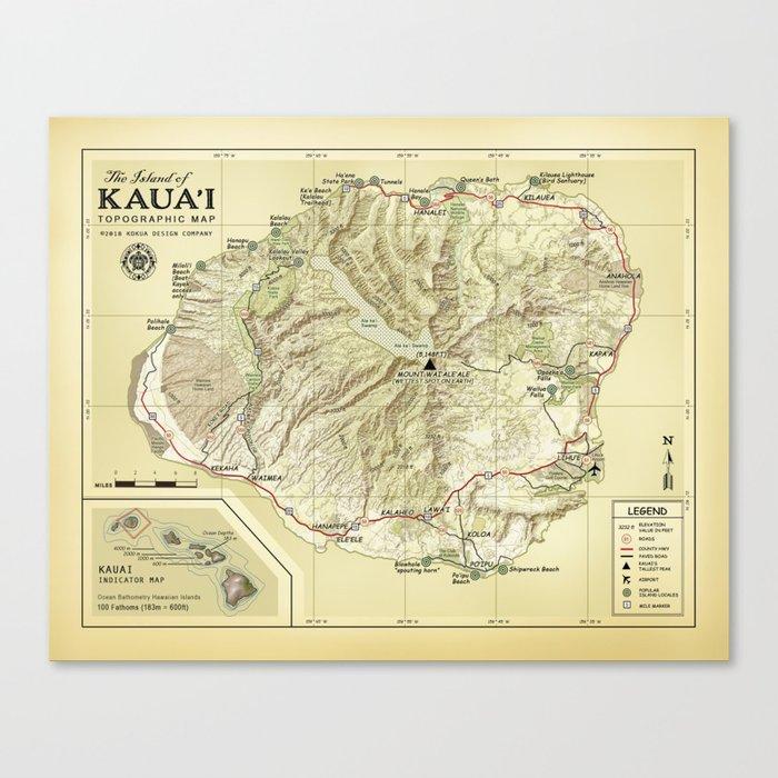The Island of Kauai [vintage inspired] Topographic Map Canvas Print on kin map, kawasaki map, martin map, waldorf map, sacred ridge site map, iwate prefecture map, iwaizumi map, baldwin map, marshall map,